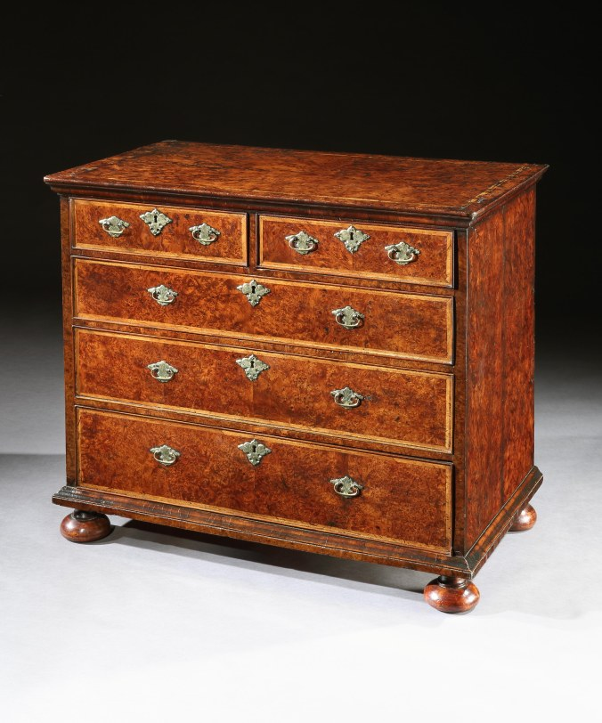 A Queen Anne Burr Yew Chest of Drawers Mackinnon Fine Furniture Collection