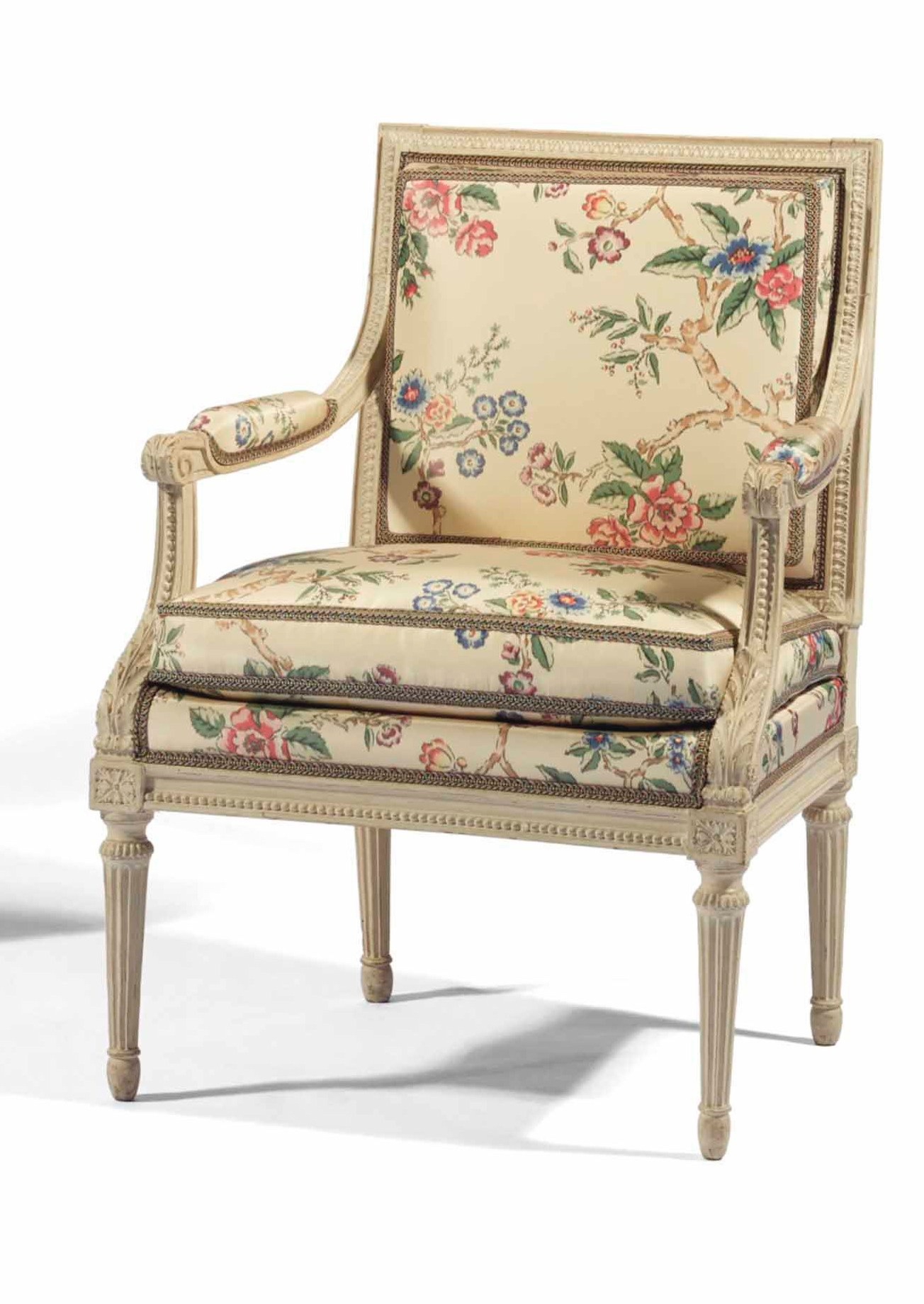 A Pair Of Louis XVI White Painted Fauteuils Likely Made For Marie Antoinette  Mackinnon Fine Furniture Collection