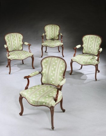 A Set of Four George III Mahogany Armchairs attributed to John Cobb