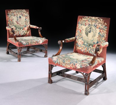 A Pair of George III Mahogany Armchairs from Newhailes