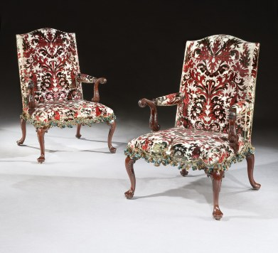 A Pair of George II Mahogany Armchairs from Warwick Castle