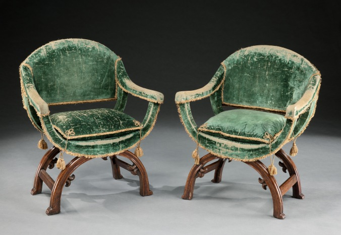A Pair of Walnut Curule Form Armchairs from the collection of Irwin Untermyer Mackinnon Fine Furniture Collection