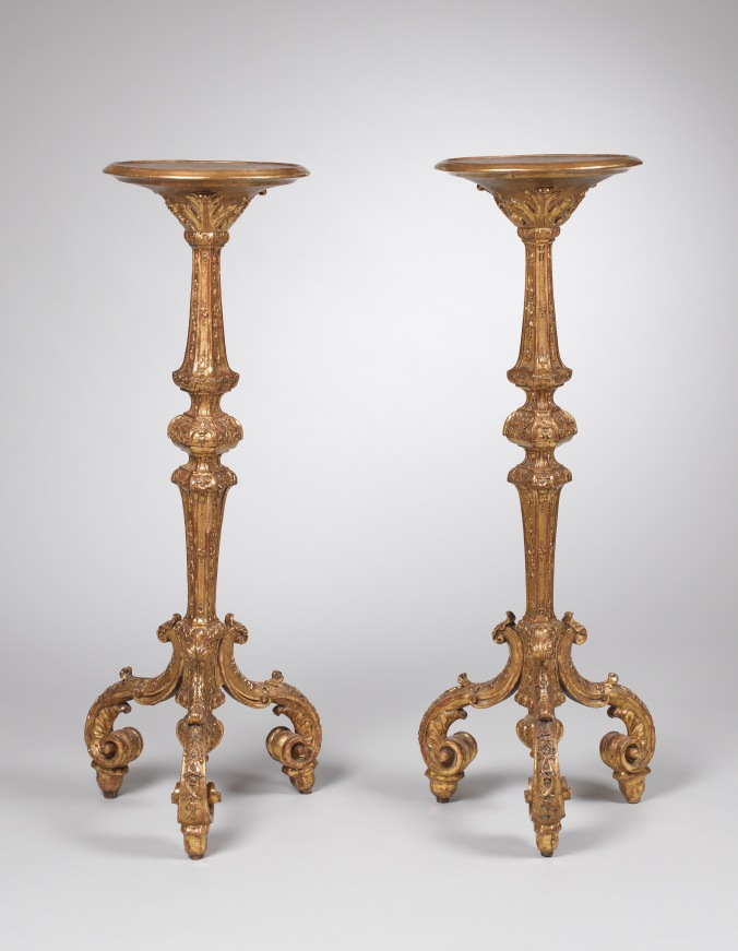 A Pair of George I Giltwood Torcheres in the manner of James Moore Mackinnon Fine Furniture Collection