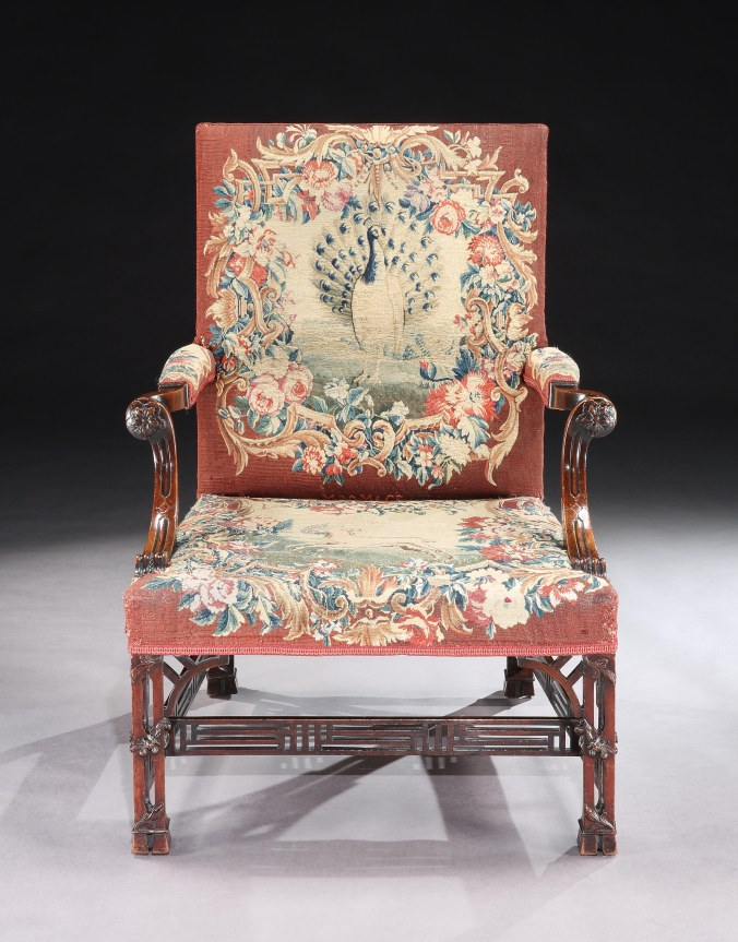 The Newhailes Library Armchairs with Aubusson Tapestry Covers Mackinnon Fine Furniture Collection
