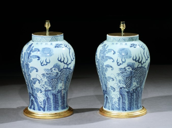 A Pair of Chinese Blue and White Lamps with Fo Dogs Mackinnon Fine Furniture Collection