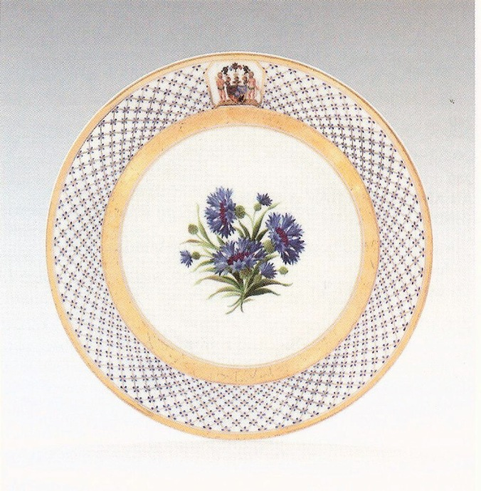 One of a set of six Berlin porcelain plates with arms of the Holstein-Gottorp family Mackinnon Fine Furniture Collection