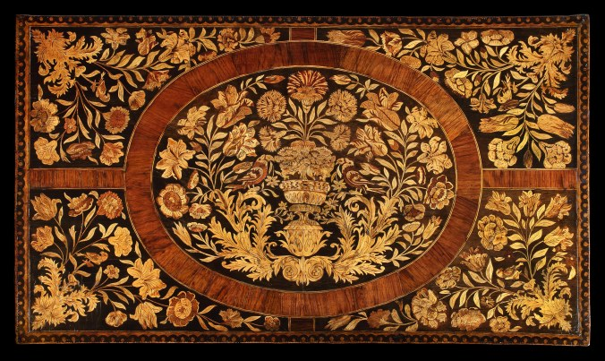 Detail of the top of a William & Mary marquetry chest of drawers Mackinnon Fine Furniture Collection