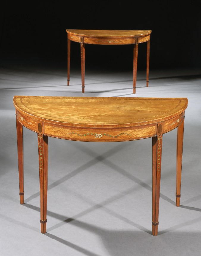 A Pair of George III Satinwood Demilune Side Tables Mackinnon Fine Furniture Collection