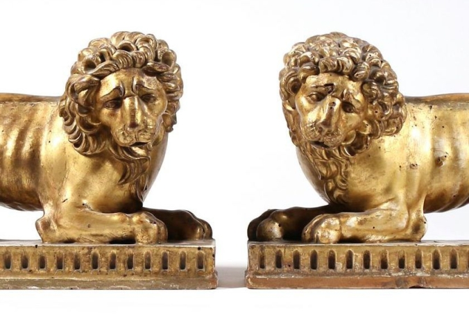 A Pair of Regency Giltwood Lions Mackinnon Fine Furniture Collection