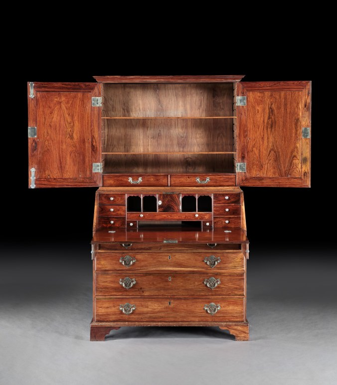 One of a Pair of 18th Century Anglo-Chinese Padouk Secretaire Cabinets Mackinnon Fine Furniture Collection