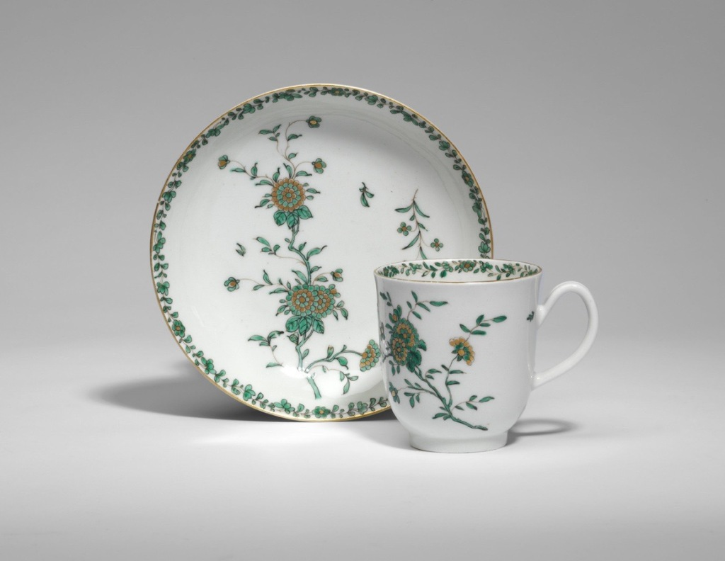 A Worcester cup and saucer with chrysanthemums from the Jame Giles atelier Mackinnon Fine Furniture Collection
