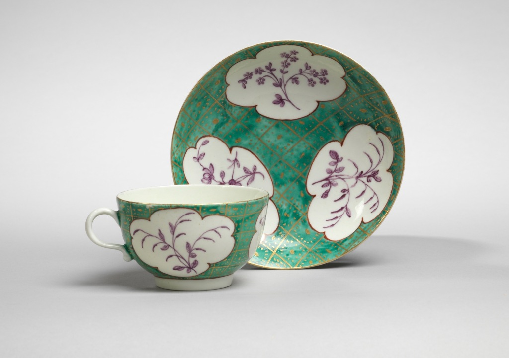 A Worcester Cup and Saucer in Jade Green from the James Giles Atelier Mackinnon Fine Furniture Collection