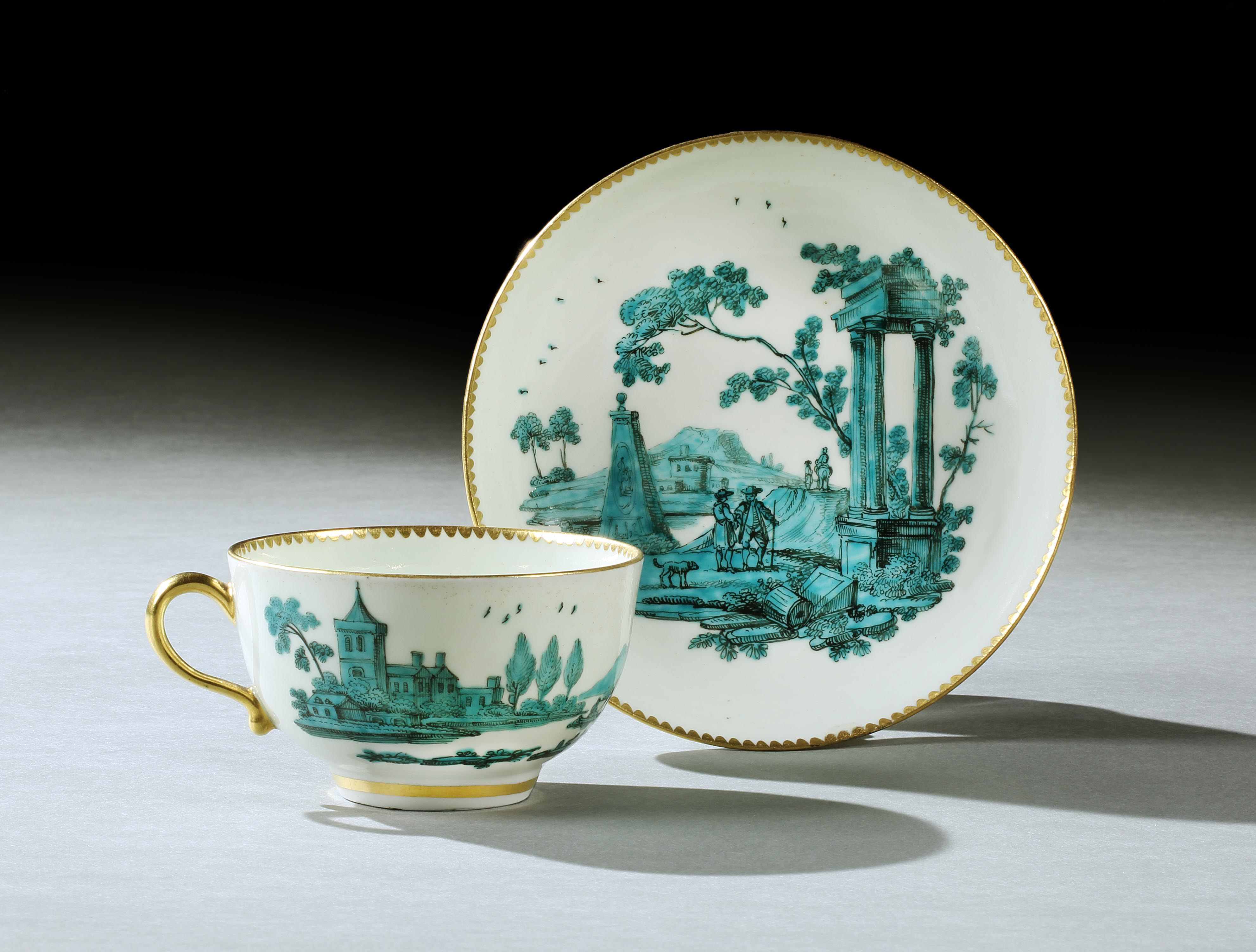 A Worcester Teacup and Saucer by the atelier of James Giles from the Saltram Service Mackinnon Fine Furniture Collection