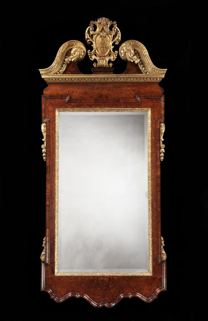 A George II Burr Walnut and Parcel Gilt Mirror Mackinnon Fine Furniture Collection