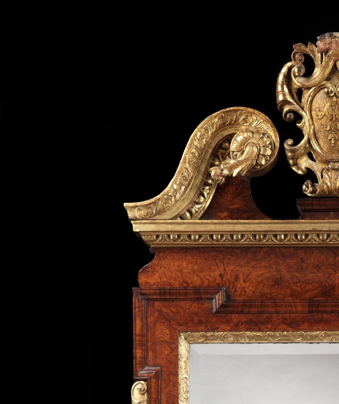 Detail of a George II Burr Walnut and Parcel Gilt Mirror Mackinnon Fine Furniture Collection