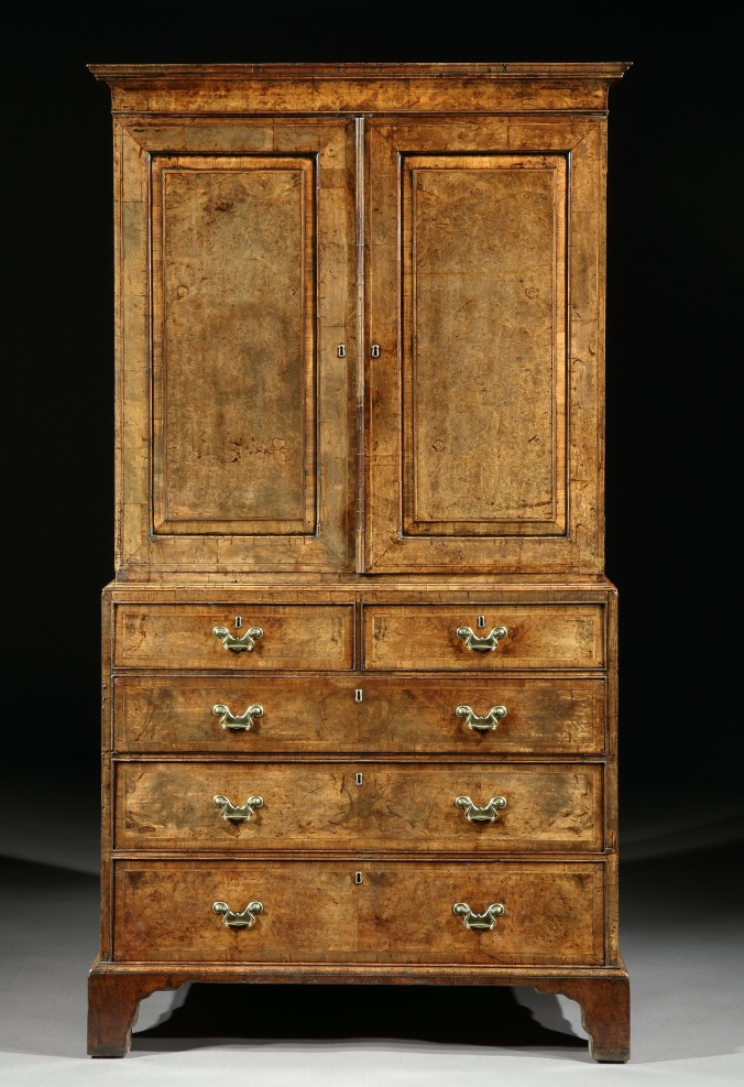 A George I Burr Walnut Cabinet on Chest Mackinnon Fine Furniture Collection