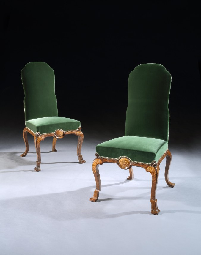 A Pair of George I Seaweed Marquetry Side Chairs Mackinnon Fine Furniture Collection