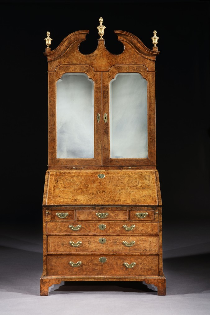 A George I Walnut and Parcel Gilt Bureau Cabinet Mackinnon Fine Furniture Collection