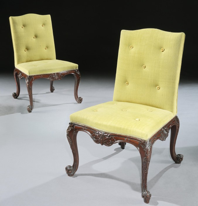 A Pair of George III Mahogany Side Chairs attributed to Vile & Cobb from Hagley Hall Mackinnon Fine Furniture Collection