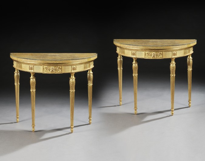 A Pair of George III Giltwood Demi-Lune Pier Tables attributed to Thomas Chippendale from Wilton Mackinnon Fine Furniture Collection
