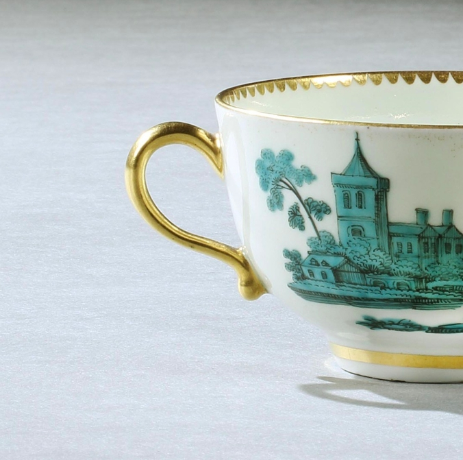 Detail of a Worcester Teacup and Saucer by the atelier of James Giles from the Saltram Service Mackinnon Fine Furniture Collection