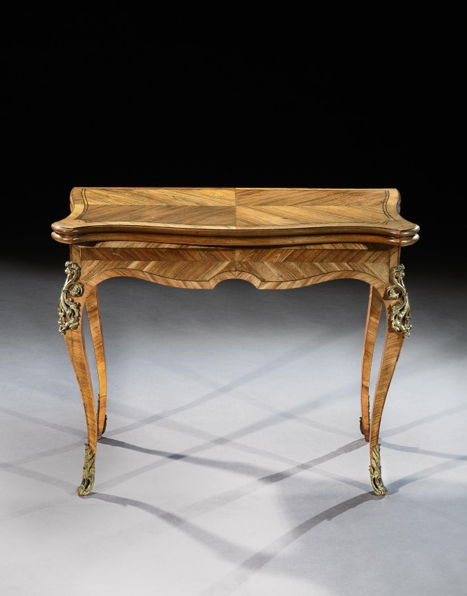 A Pair of George III Marquetry Card Tables attributed to John Cobb from Stowe, Buckinghamshire Mackinnon Fine Furniture Collection