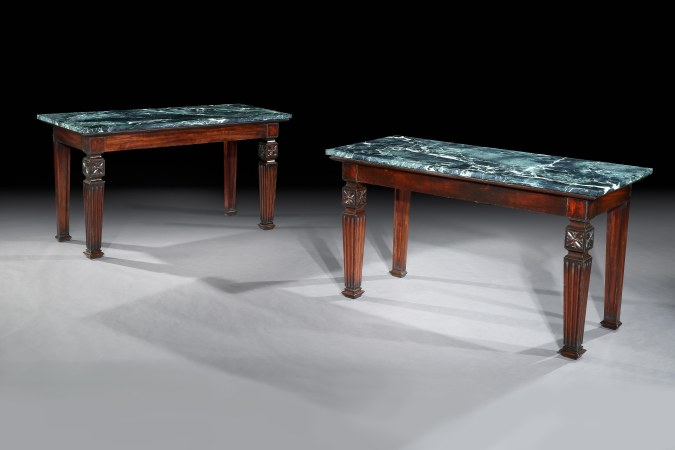 A Pair of Early 19th century George IV period neo-classical mahogany side tables was designed by Archibald Simpson for Crimonmogate House, Aberdeenshire Mackinnon Fine Furniture Collection
