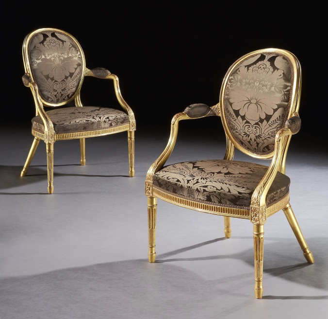 A Pair of George III Giltwood Armchairs attributed to Mayhew & Ince Mackinnon Fine Furniture Collection