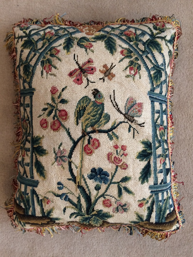A Cushion of Late 18th Century French Needlework with a Green Parakeet Mackinnon Fine Furniture Collection