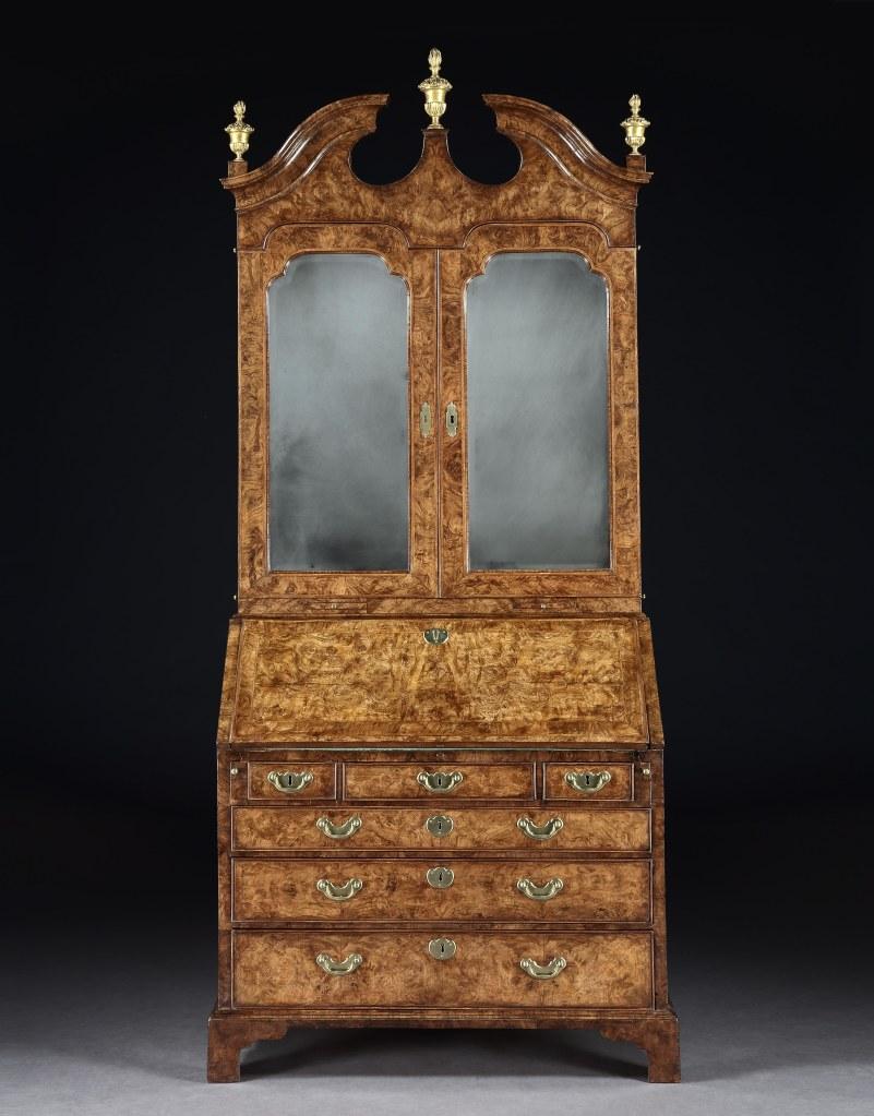 A George I Burr Walnut Bureau Bookcase Mackinnon Fine Furniture Collection