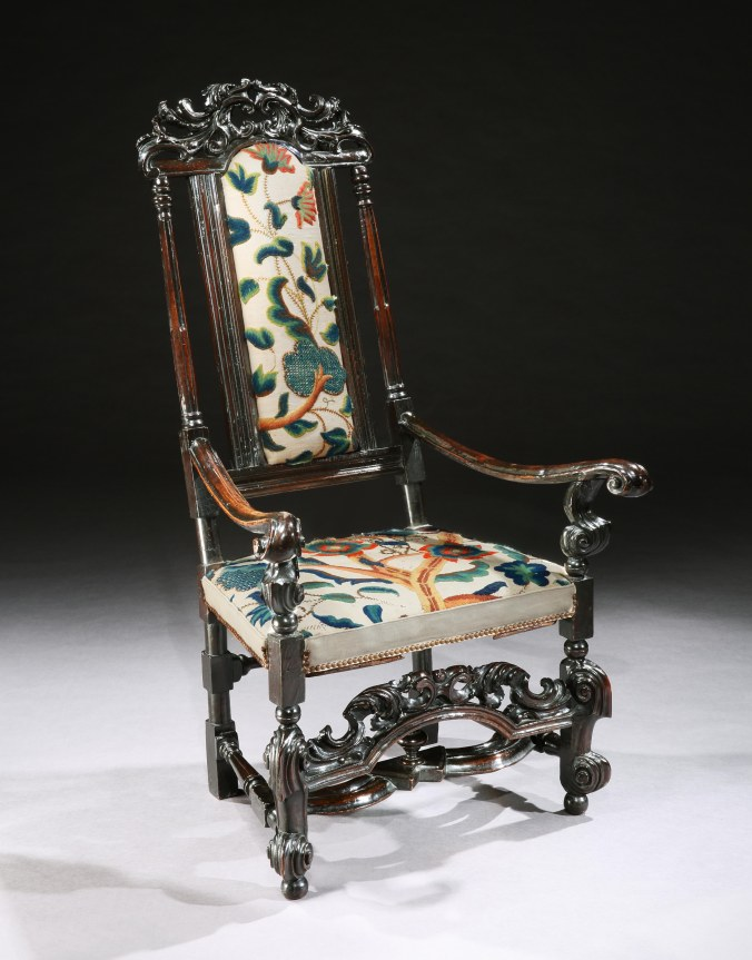 A William and Mary Ebonised Armchair with Crewel Work Embroidery Mackinnon Fine Furniture Collection