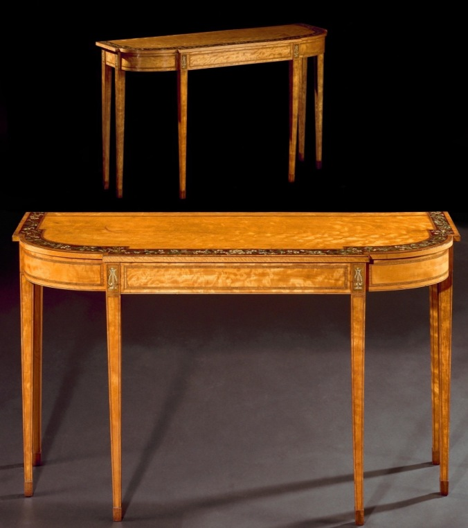 A pair of George III polychrome decorated satinwood pier tables Mackinnon Fine Furniture Collection