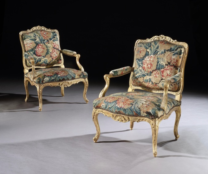 A Pair of Louis XV Carved Giltwood Chairs with Tapestry Mackinnon Fine Furniture Collection