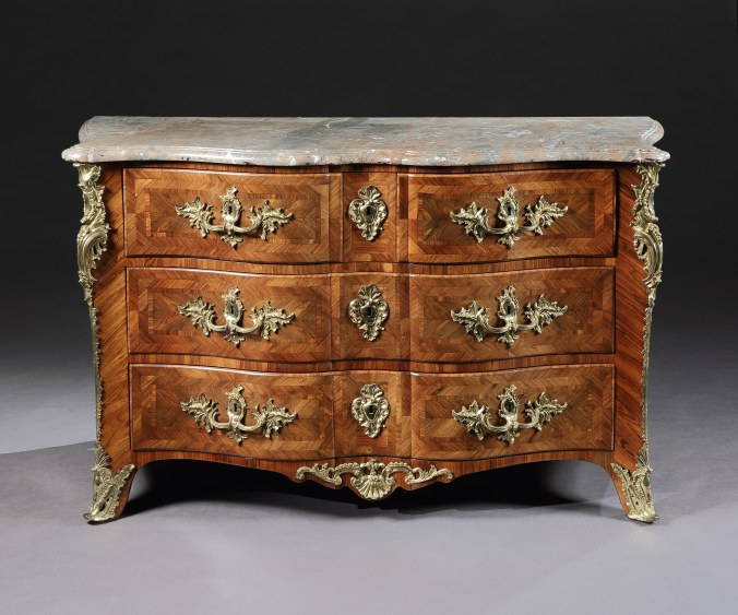 A Louis XV Bombe Commode with Marble Top Mackinnon Fine Furniture Collection