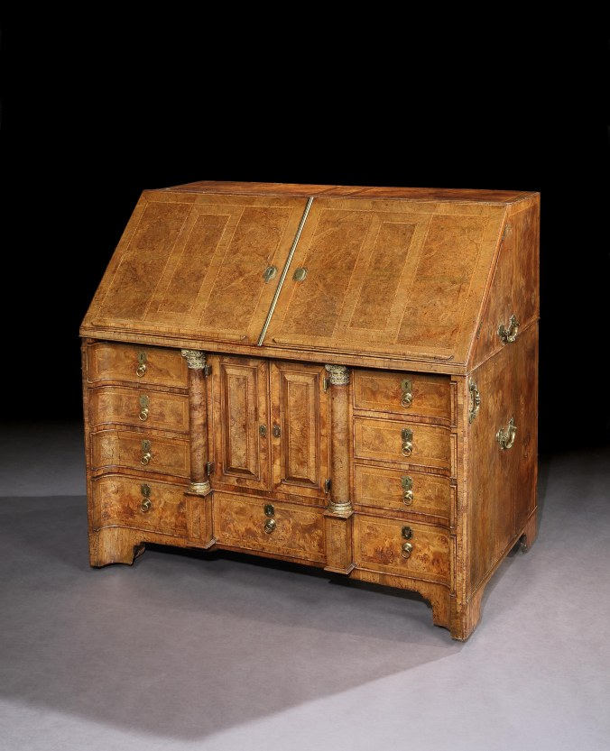 A George I Burr Walnut Bureau from the collection of Duke of Chandos for Shaw House, Berkshire Mackinnon Fine Furniture Collection