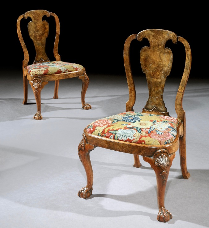 A Pair of George II Walnut Chairs in the manner of Giles Grendey with Needlework Seats Mackinnon Fine Furniture Collection