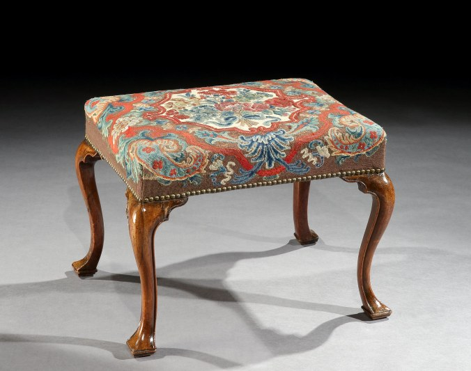 A George I Walnut Stool with Needlework Mackinnon Fine Furniture Collection