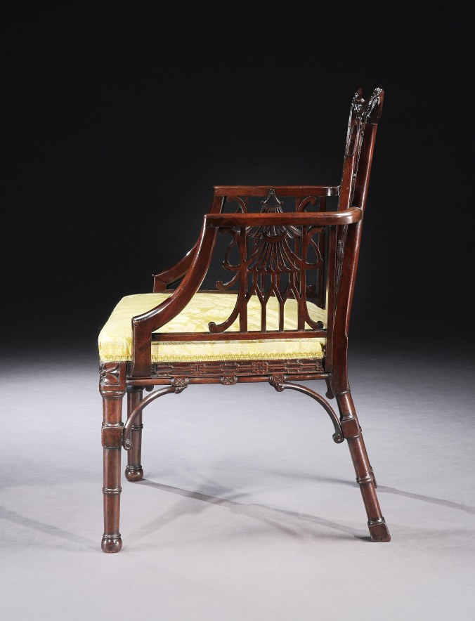 A George II Mahogany Chinoiserie Chair in the manner of Thomas Chippendale Mackinnon Fine Furniture Collection