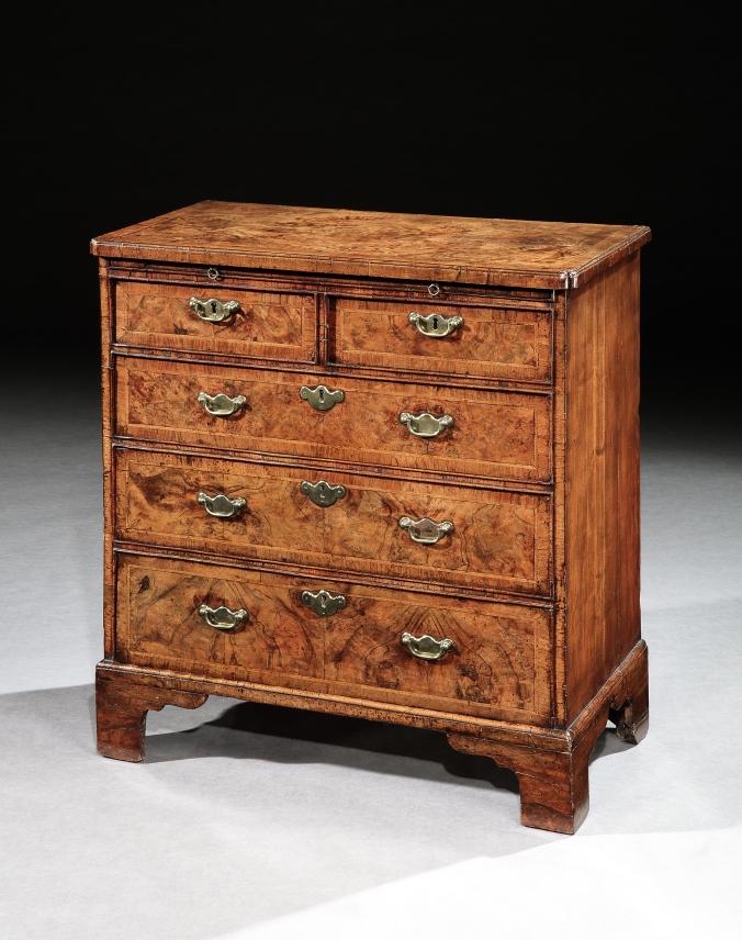 A George I Burr Walnut Chest of Drawers Mackinnon Fine Furniture