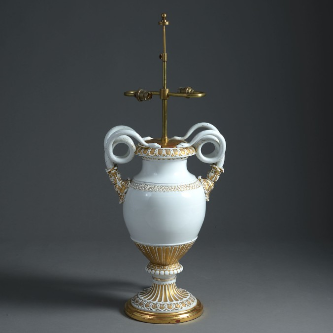 A 19th Century Meissen White Ground Vase with Gold Highlights and Serpent Handles Mackinnon Fine Furniture Collection