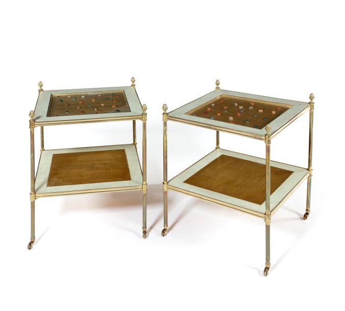 A Pair of Brass Two Tier Tables with Coloured Stones Mackinnon Fine Furniture Collection