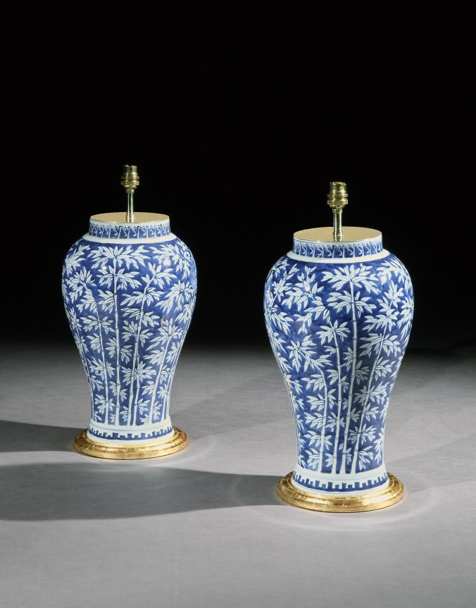 A Pair of Chinese Blue and White Vases with Bamboo and Birds Mackinnon Fine Furniture Collection