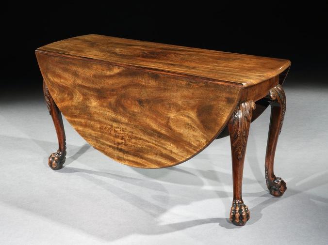 A George II Irish Mahogany Drop Leaf Table with Lion's Paw Feet Mackinnon Fine Furniture Collection