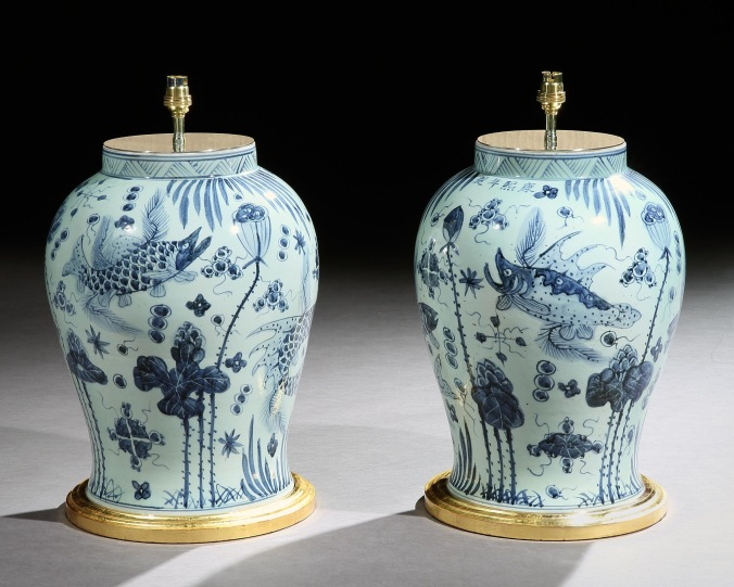 A Pair of Chinese Blue and White Vases with Fish and Foliage Mackinnon Fine Furniture Collection