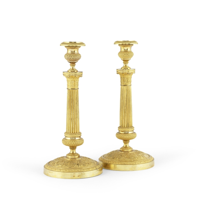 A Pair of French 19th Century Ormolu Candlesticks Mackinnon Fine Furniture