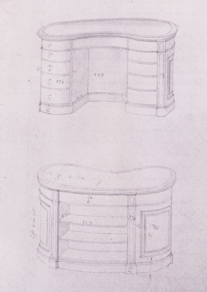 Gillows of Lancaster & London Drawing of a Kidney Desk