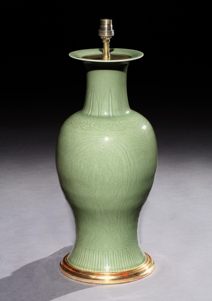 A Chinese Celadon Vase now Mounted as a Lamp Mackinnon Fine Furniture Collection
