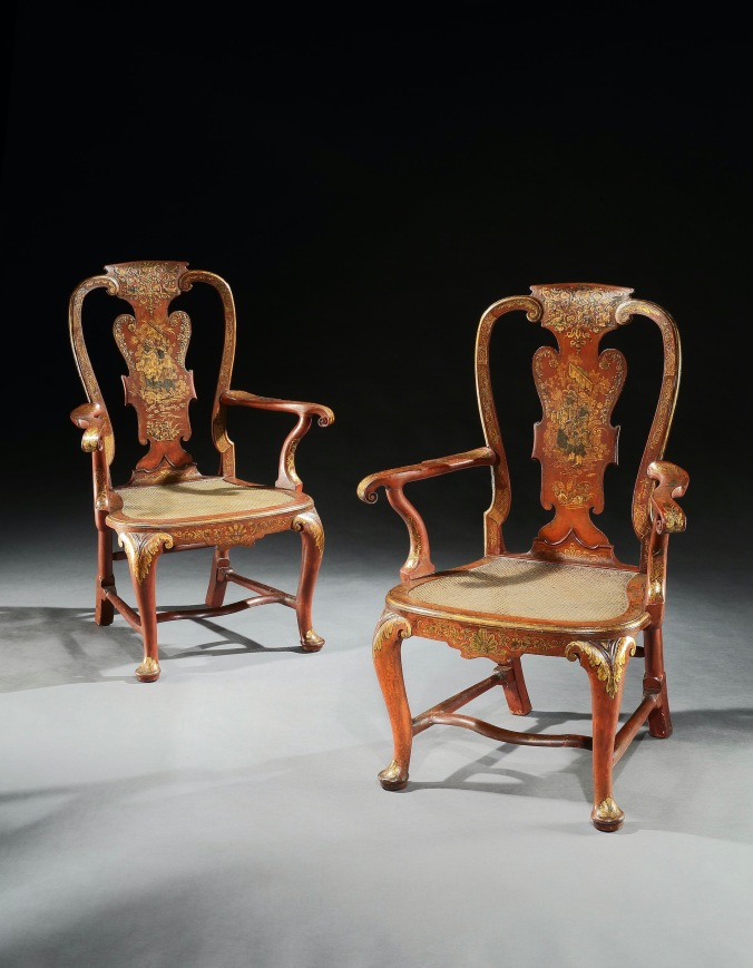 The Lazcano Palace Scarlet Japanned Armchairs by Giles Grendey Mackinnon Fine Furniture Collection