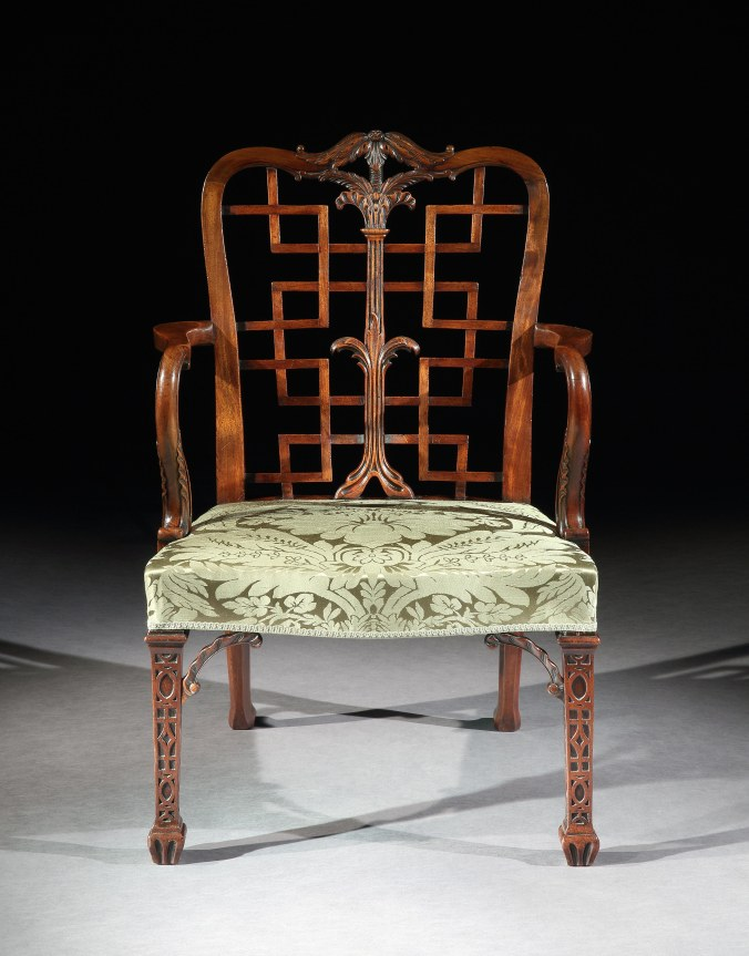 One of a Pair of George III Chinoiserie Chippendale Chairs with spade feet Mackinnon Fine Furniture Collection