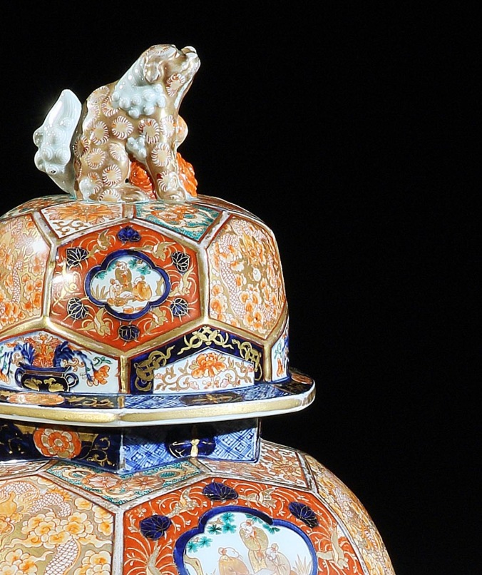 A Pair of 19th Century Japanese Imari Vases with Dogs of Foo Finials Mackinnon Fine Furniture Collection